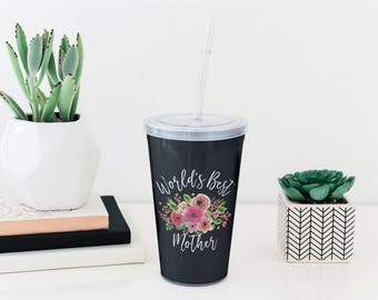 Travel Cup for Mom - Mothers Day Gift - Personalized Tumbler with Straw  - Gift for Mom - World's Best Mother Cup - Custom Gift for Mom