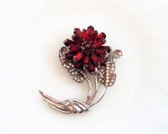Art Deco Large Crystal Rhinestone Red Flower Brooch Pot Metal Unsigned