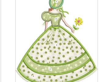 SOUTHERN BELLE APPLIQUE  green doll machine embroidery download 3 diff sizes (  5x5   5x6   6x7 )