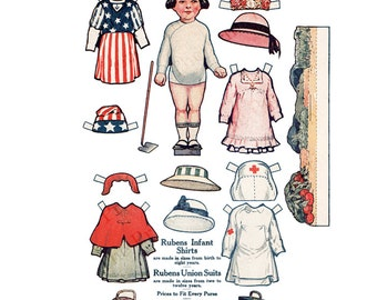 Printable Paper Doll Digital Download Antique Advertising Rubens Shirts