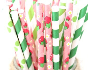 Strawberry party straws mix- pink and green strawberry straws, strawberry fields, strawberry shortcake party, spring garden straws
