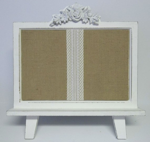Shabby Chic Lace & Burlap Table Top Push Pin Bulletin Board