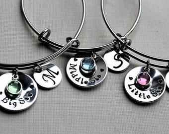 Big sister middle sister little sister bracelet set, big sister middle little sister set, big sister little sister middle sister bangle set