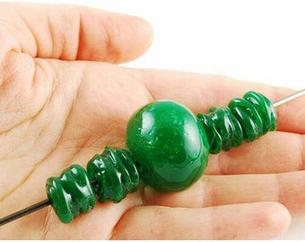 Lampwork Beads Set f 5 Handmade Hollow Green color Blowing Grass Bead st. patricks day jewelry diy craft supplies