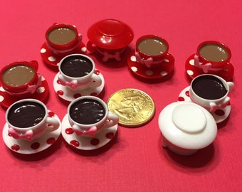 3D Resin Minature Doll House Coffee Tea Cups Boetoes 6 pcs