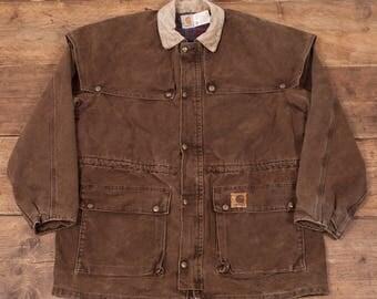 """Mens Vintage Carhartt Blanket Lined Workwear Chore Jacket Brown L 46"""" R5153"""