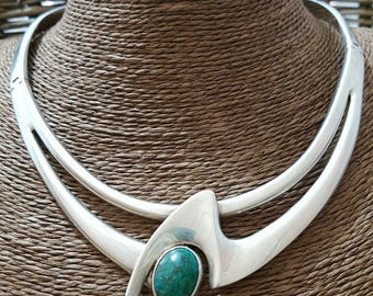Vintage taxco sterling silver collar necklace, green turquoise, 132gr, stunning