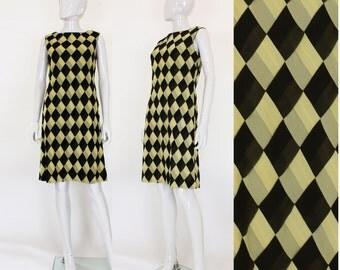 1960s Couture Silk Chiffon Check Dress