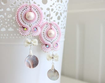 Light pink and silver soutache earrings with Swarovski, Miyuki pearls and mother of pearl. Handmade. Dangly earrings