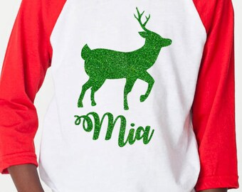 Personalized Glitter Reindeer Raglan, Matching Family Christmas Shirts, Christmas Pajamas - Toddler, Youth & ADULT sizes
