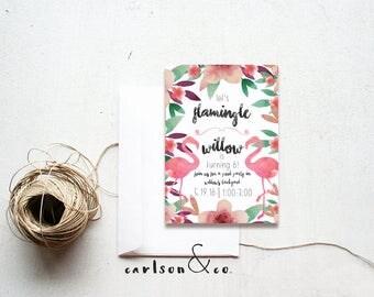 Flamingo Invitation | Flamingo Birthday Invitation | Floral Flamingo Invitation -- 5x7 Digital Printable