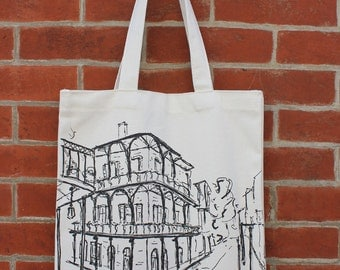 New Orleans Art Canvas Tote Bag with Pocket, French Quarter, NOLA, Wedding Gift, Shower Gift, Birthday Gift, Holiday Gift, For Her, For Him