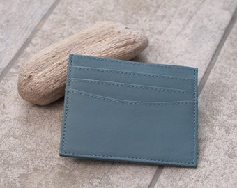 Fair Trade Leather Card Holder in Duck Egg Blue, Light Blue Leather Card Holder, Duck Egg Leather Card Case, Ladies Leather Card Holder