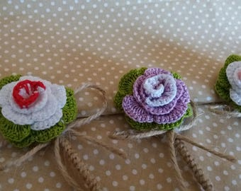 crochet buttonhole, weddin buttonhole, grooms buttonhole, alternative buttonhole, crochet boutonniere