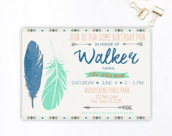 Wild One Birthday Invitation, Wild One, First Birthday, Boho, Tribal Birthday Invitation, Boy, Birthday Invitation, Arrows, Printable DIY