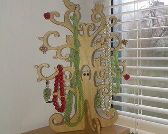 Jewelry holder wooden tree with birds and owls. Standing tree.