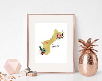 DIGITAL, Guam Art print, Guam Home Decor, Gold, Guam Wall Art, Guam Prints, Guam Printable