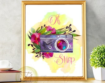 Camera Print, Oh Snap, Watercolor Camera Printable Wall Art
