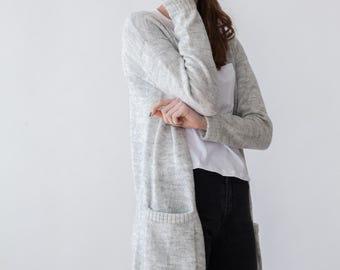 MOHAIR&WOOL CARDIGAN long length with pockets grey color