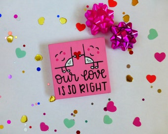 Math Gifts - Right Angle - Geometry Decor - Nerd Art - Valentine's Sign - Our Love -  Cute Girlfriend Gift - Hand Painted Canvas - Gift Box