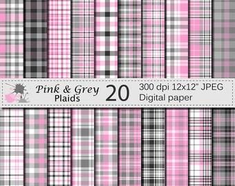 Pink and Grey Plaids Digital Paper Set, Pink and Grey Plaid Digital Papers, Plaid Scrapbook Paper, Digital Download