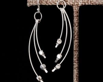 Long Sterling Silver Earrings,Silver Bar Earrings,Long Silver Dangle Earrings,Silver Curved Earrings,Sterling Silver Earrings,Silver Earring