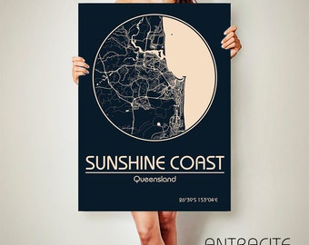 SUNSHINE COAST CANVAS Map Sunshine Coast Poster City Map Sunshine Coast Art Print Sunshine Coast