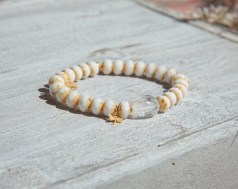 White Quartz Bracelet, White Quartz Bracelet, White Boho Bracelet, Dragonfly Bracelet, White Crystal Bracelet, Retirement Gift for Friend