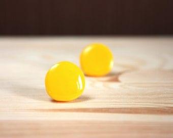 Yellow stud earrings Glossy yellow earrings Yellow round studs Yellow round earrings Yellow post earrings Resin stud earrings Tiny studs
