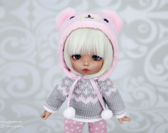 Marshmallow Bear outfit (Bear hat, sweater, trousers) for pukifee, lati yellow, tiny,  1/8 bjd dolls
