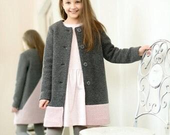 Girl woolen coat - Toddler girl coat - Girl spring coat - Woolen spring coat - Girl woolen jacket - Toddler woolen coat - Gray woolen coat
