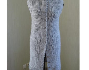 Cardigan Coat Jacket M Handmade Knit Crochet Mohair