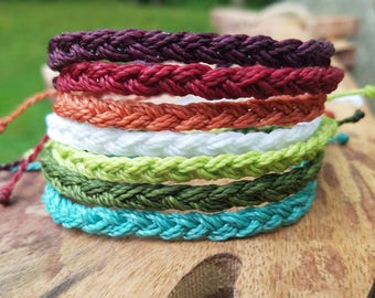 Braided Bracelet, Choose your own color,  Beachy Bracelet, Wax Bracelet, Surfer Bracelet, Waterproof Bracelet, Braided Anklet, Beachy Anklet