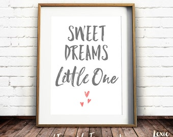 Sweet Dreams Little One, Nursery Print, Baby Print, Nursery Print, Wall Art, Bedroom, Printable Quote, Printable Wall Art, Instant Download