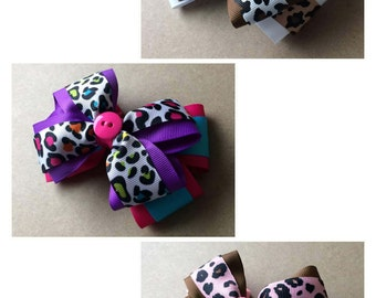 Large Stacked Leopard Print Hair Bow / Brown Leopard Print / Pink Leopard Print / Colorful Leopard Print / Animal Hair Bow / Large Hair Bow