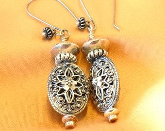 Sterling silver earrings, cast Bali beads and findings