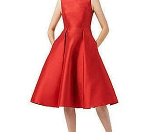 size 6 vintage inspired red taffeta dress