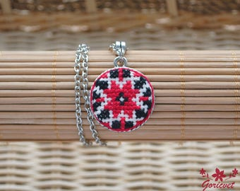 Ukrainian folk art red black ethnic jewelry pendant necklace embroidered jewelry ukrainian art symbol necklace womens gift girlfriend gift
