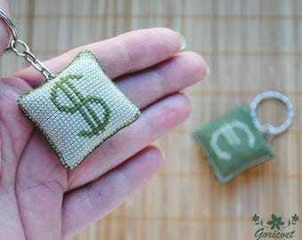 Best keychain for him gifts for dad money sign embroidered gift for brother green keychain handmade set of 2 housewarming gift for couple