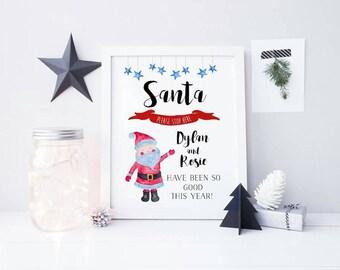 Santa Please Stop Here Print - Santa Print - Children's Christmas Print