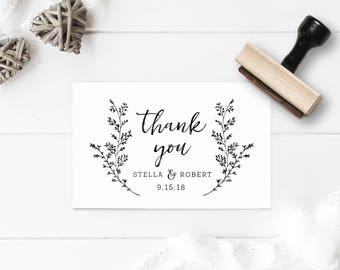 Thank You Wedding Stamp - Wedding Favor Stamp - Wedding Tag Stamp- Gift Tag Stamp - Custom Thank You Stamp- Wreath, Leaves, Nature Stamp
