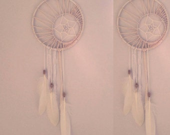Moon and star white dreamcatcher
