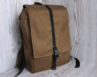 Backpack, Tan laptop backpack, Brown Backpack Purse, Women's rucksack, College backpack, Hipster backpack, Waterproof backpack, Vegan