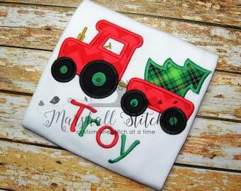 Boy's Christmas Tractor Shirt/ Christmas Boy Tractor Shirt/ Boy's Christmas Shirt. Christmas Tractor Appliqué Shirt