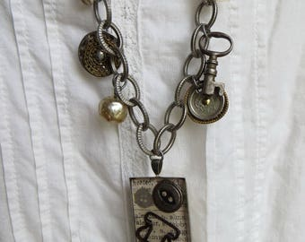 Vintage Statement Necklace with Pendant Silver OOAK Necklace