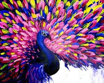 Best Art Prints. Peacock Art Print Blue Pink. Peacock Wall Art Decorating. Decor Ideas Bedroom. Office Wall Artwork. Peacock Art Gift