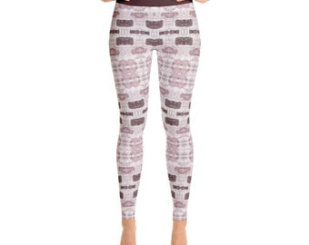 Exercise Leggings - Abstract Art Leggings in Wine and Rose, Stretchy Yoga Pants, Workout Clothes for Women