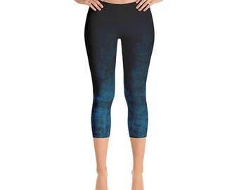 Capri Yoga Leggings - Grunge Leggings, Black and Blue Ombre Yoga Pants