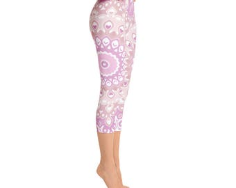 Capris - Leggings Pink Yoga Pants, Patterned Tights, Womens Mandala Pants, Art Leggings