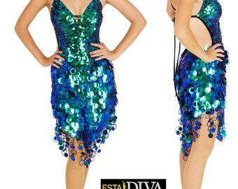 Sequin Dress - Cornetta Verda, Jumbo Sequin Dress, Latin Dance Dress, Dance Dress, Dancewear, Salsa Dress, Paillettenkleid, Robe de danse
